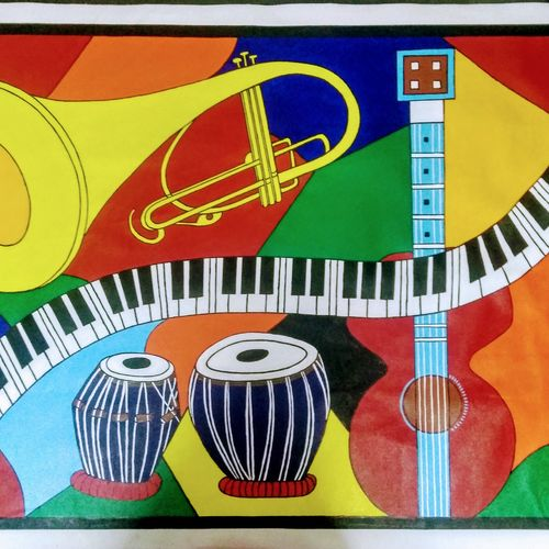 abstract painting - musical instruments, 50 x 34 inch, geeta kwatra,paintings,abstract paintings,paintings for living room,canvas,acrylic color,50x34inch,GAL0899121954