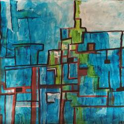 city in blue, 28 x 22 inch, seema segal,paintings,abstract paintings,paintings for dining room,paintings for living room,paintings for bedroom,paintings for office,paintings for hotel,paintings for dining room,paintings for living room,paintings for bedroom,paintings for office,paintings for hotel,thick paper,acrylic color,watercolor,28x22inch,GAL01177521955