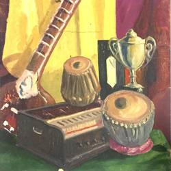musical instrument, 17 x 20 inch, balbir art  gallery,paintings,folk art paintings,canvas,oil,17x20inch,GAL01076521964