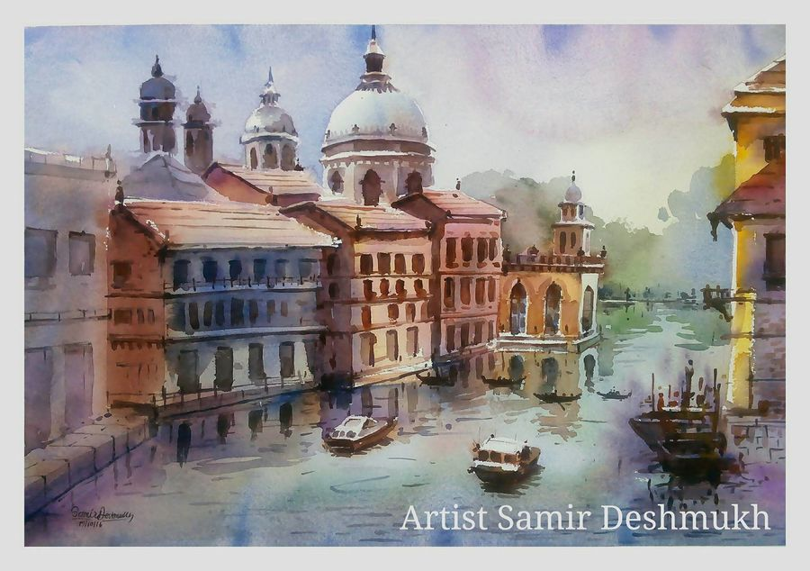 green natural -3, 21 x 15 inch, samir deshmukh,landscape paintings,nature paintings,paintings for living room,paintings for office,handmade paper,watercolor,21x15inch,GAL02522197Nature,environment,Beauty,scenery,greenery