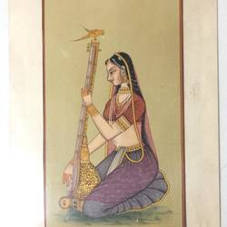 lady with guitar, 8 x 11 inch, balbir art  gallery,paintings,miniature painting.,canvas,poster color,watercolor,8x11inch,GAL01076521974