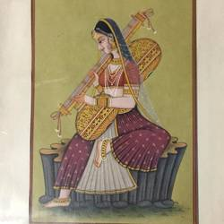 lady with guitar, 8 x 11 inch, balbir art  gallery,miniature painting.,canvas,poster color,watercolor,8x11inch,GAL01076521975