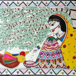 give & receive, 16 x 12 inch, akanksha sinha,paintings,folk art paintings,nature paintings,madhubani paintings,paper,pen color,watercolor,16x12inch,GAL01104121978Nature,environment,Beauty,scenery,greenery
