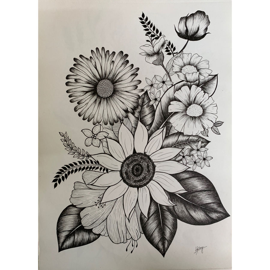 sunflower , 12 x 17 inch, hailey doshi,paintings,flower paintings,paintings for dining room,paintings for office,paintings for hotel,thick paper,pen color,12x17inch,GAL0588321979