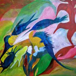 incredible water animal living together, 29 x 24 inch, nadim ahmed khan,29x24inch,canvas,paintings,abstract paintings,animal paintings,paintings for dining room,paintings for living room,paintings for bedroom,paintings for office,paintings for bathroom,paintings for kids room,paintings for hotel,acrylic color,GAL0921921994