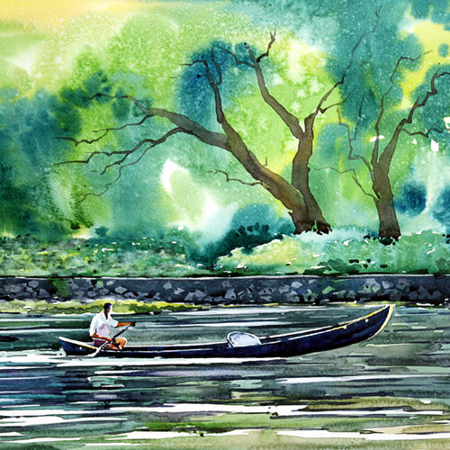 the water path, 21 x 15 inch, raji p,21x15inch,canson paper,paintings,wildlife paintings,landscape paintings,nature paintings,impressionist paintings,contemporary paintings,paintings for dining room,paintings for living room,paintings for bedroom,paintings for office,paintings for kids room,paintings for hotel,paintings for kitchen,paintings for school,paintings for hospital,watercolor,GAL059021998Nature,environment,Beauty,scenery,greenery