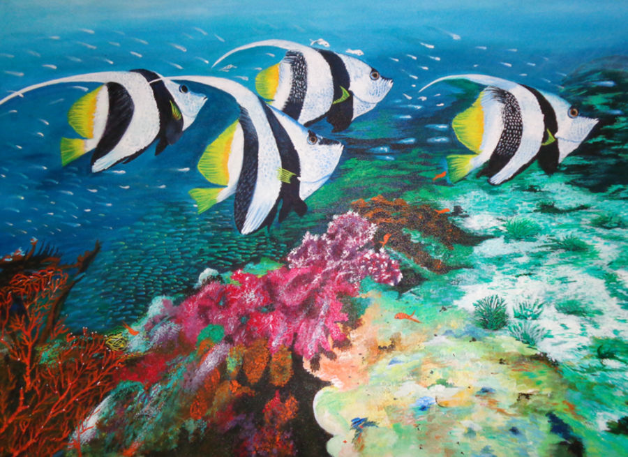 fishes and coral reefs, 36 x 24 inch, neeraj parswal,paintings for dining room,nature paintings,wildlife paintings,animal paintings,canvas,acrylic color,36x24inch,GAL0922Nature,environment,Beauty,scenery,greenery