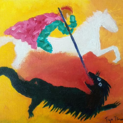 st george and the beast, 20 x 16 inch, tijo thomas,20x16inch,canvas board,paintings,abstract paintings,figurative paintings,folk art paintings,modern art paintings,conceptual paintings,religious paintings,abstract expressionist paintings,contemporary paintings,paintings for dining room,paintings for living room,paintings for bedroom,paintings for office,paintings for kids room,paintings for hotel,paintings for school,paintings for hospital,acrylic color,fabric,GAL01171322002