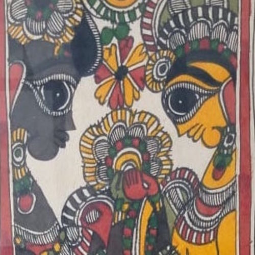 madhubani art love , 8 x 22 inch, gaurav jain,8x22inch,rice paper,paintings for dining room,paintings for living room,paintings for bedroom,paintings for office,madhubani paintings,mixed media,GAL0136722004