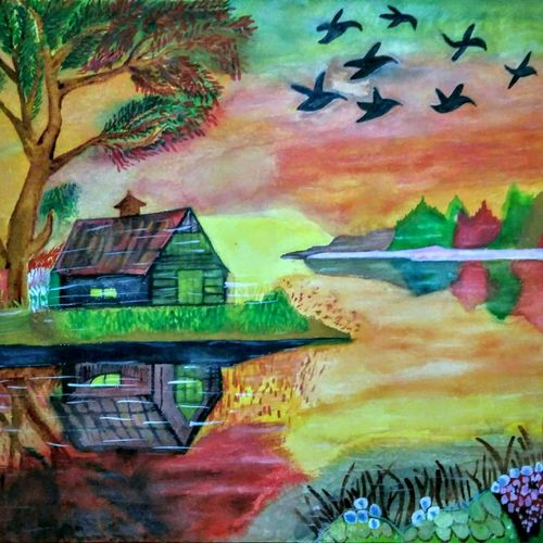 landscape scenery , 30 x 23 inch, nadim ahmed khan,30x23inch,handmade paper,paintings,abstract paintings,landscape paintings,paintings for dining room,paintings for living room,paintings for bedroom,paintings for office,paintings for bathroom,paintings for kids room,paintings for hotel,paintings for kitchen,paintings for school,paintings for hospital,watercolor,GAL0921922012