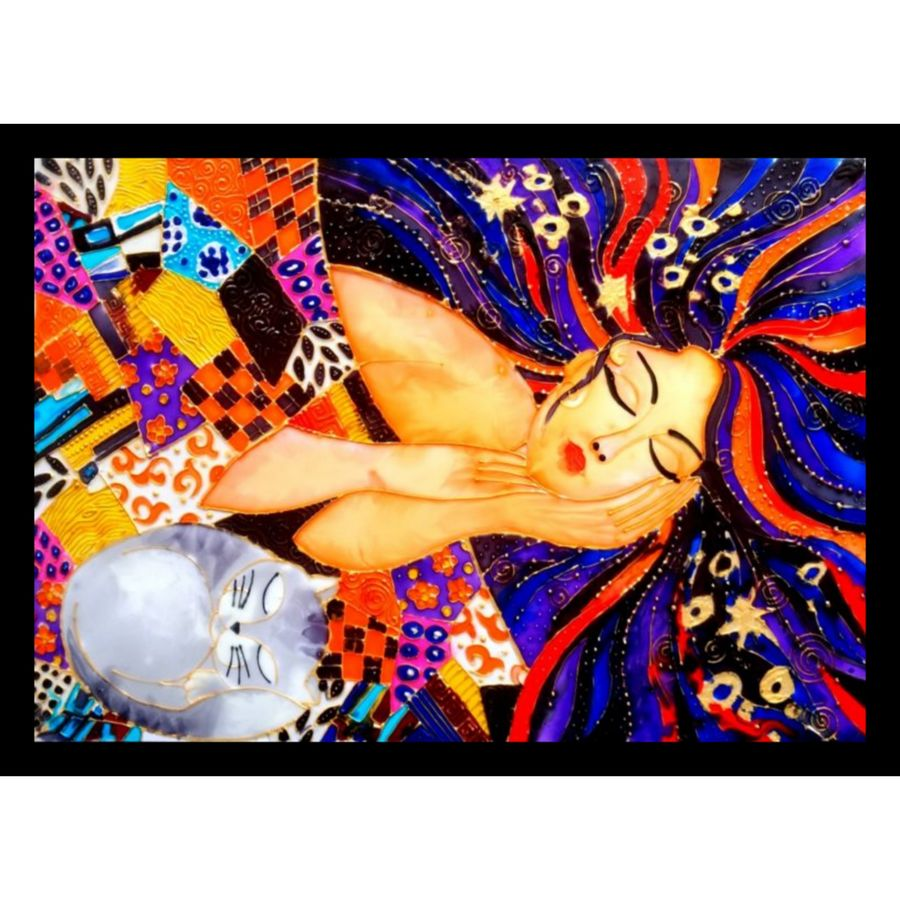sleeping beauty with cat, 16 x 21 inch, shulkha acharya,16x21inch,ohp plastic sheets,paintings,abstract paintings,figurative paintings,modern art paintings,expressionist paintings,pop art paintings,love paintings,children paintings,paintings for dining room,paintings for living room,paintings for bedroom,paintings for office,paintings for bathroom,paintings for kids room,paintings for hotel,paintings for kitchen,paintings for school,paintings for hospital,glass,GAL01157222014heart,family,caring,happiness,forever,happy,trust,passion,romance,sweet,kiss,love,hugs,warm,fun,kisses,joy,friendship,marriage,chocolate,husband,wife,forever,caring,couple,sweetheart