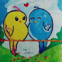 lovely cute lovebirds couple, 6 x 9 inch, sreelekha gollu,6x9inch,paper,paintings,watercolor,GAL0735822019