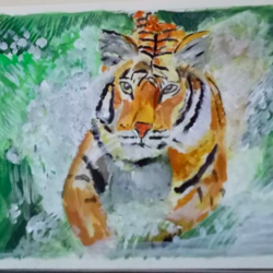 tiger realistic painting, 8 x 11 inch, nandhini rt,paintings,wildlife paintings,nature paintings,realistic paintings,paintings for living room,paintings for bedroom,paintings for office,paintings for hotel,paintings for school,paintings for hospital,handmade paper,acrylic color,8x11inch,handmade paper,paintings,wildlife paintings,nature paintings,realistic paintings,paintings for living room,paintings for bedroom,paintings for office,paintings for hotel,paintings for school,paintings for hospital,GAL0887922021Nature,environment,Beauty,scenery,greenery