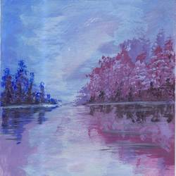 pink morning, 4 x 6 inch, leo d'silva,4x6inch,canvas,paintings,landscape paintings,paintings for dining room,paintings for living room,paintings for bedroom,paintings for office,paintings for bathroom,paintings for hotel,paintings for kitchen,acrylic color,GAL01189122032