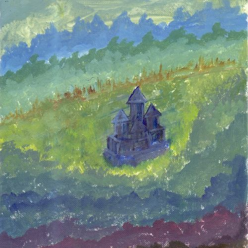 castle abstract painting, 4 x 6 inch, leo d'silva,4x6inch,canvas,paintings,abstract paintings,paintings for dining room,paintings for living room,paintings for bedroom,paintings for bathroom,paintings for hotel,acrylic color,GAL01189122036