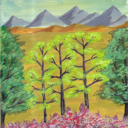 trees landscape painting, 4 x 6 inch, leo d'silva,4x6inch,canvas,paintings,landscape paintings,paintings for dining room,paintings for living room,paintings for bedroom,paintings for bathroom,acrylic color,GAL01189122039