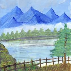 landscape painting, 4 x 6 inch, leo d'silva,4x6inch,canvas,paintings,landscape paintings,paintings for dining room,paintings for living room,paintings for bedroom,paintings for bathroom,acrylic color,GAL01189122040