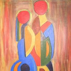 man woman (1) geo., 36 x 24 inch, amit  sen,abstract paintings,paintings for living room,figurative paintings,canvas,acrylic color,36x24inch,GAL08592205