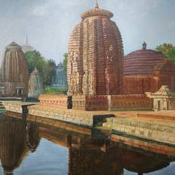 mukteshwar temple, 18 x 24 inch, anuradha kulkarni,18x24inch,canvas,paintings,landscape paintings,oil,GAL0497422051