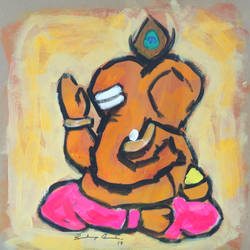 enlightened ganesha, 8 x 8 inch, sandeep rawal ,8x8inch,thick paper,paintings,abstract paintings,modern art paintings,ganesha paintings,contemporary paintings,paintings for dining room,paintings for living room,paintings for office,paintings for kids room,paintings for hotel,paintings for kitchen,paintings for school,paintings for hospital,acrylic color,GAL0251122058,vinayak,ekadanta,ganpati,lambodar,peace,devotion,religious,lord ganesha,lordganpati