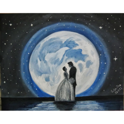 love at moon, 20 x 16 inch, subir jha,20x16inch,canvas,paintings,abstract paintings,modern art paintings,paintings for dining room,paintings for living room,paintings for bedroom,paintings for hotel,oil,GAL01191622069