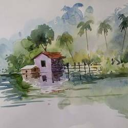 green natural -7, 21 x 14 inch, samir deshmukh,landscape paintings,nature paintings,paintings for living room,paintings for office,handmade paper,watercolor,21x14inch,GAL02522207Nature,environment,Beauty,scenery,greenery