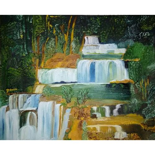 water fall, 20 x 16 inch, subir jha,20x16inch,canvas,paintings,abstract paintings,landscape paintings,nature paintings,water fountain paintings,paintings for dining room,paintings for living room,paintings for bedroom,paintings for office,paintings for hotel,paintings for school,paintings for hospital,oil,GAL01191622072Nature,environment,Beauty,scenery,greenery