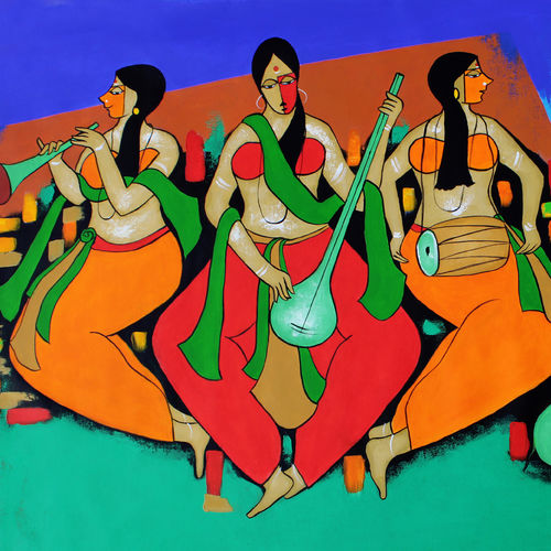 music composition, 60 x 35 inch, chetan katigar,60x35inch,canvas,paintings,abstract paintings,figurative paintings,flower paintings,cityscape paintings,modern art paintings,religious paintings,still life paintings,art deco paintings,expressionist paintings,impressionist paintings,radha krishna paintings,contemporary paintings,paintings for dining room,paintings for living room,paintings for bedroom,paintings for office,acrylic color,GAL026622073,radha,lordradha,love,peace,music