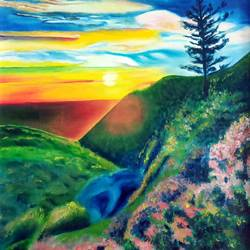 the sunset, 16 x 23 inch, idris khaleel,16x23inch,canvas,paintings,nature paintings,paintings for dining room,paintings for living room,paintings for bedroom,paintings for office,paintings for kids room,paintings for hotel,paintings for school,oil,GAL01131722080Nature,environment,Beauty,scenery,greenery