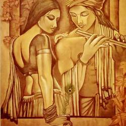 modern radha krishna, 14 x 16 inch, srikanth kona,14x16inch,canvas,paintings,religious paintings,oil,GAL01192922083
