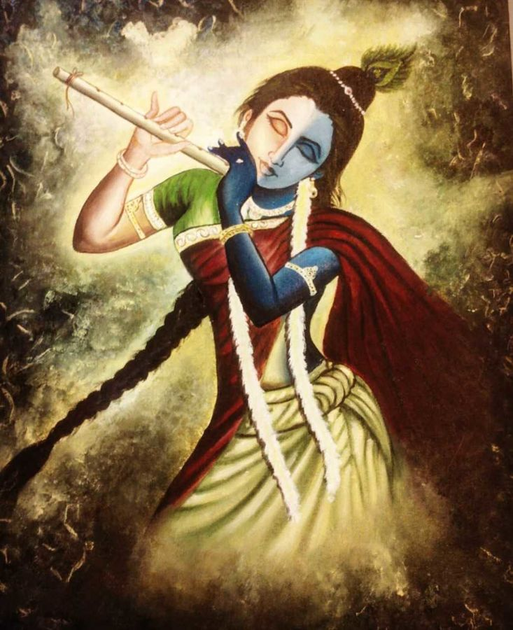 ardharadhe krishna, 14 x 16 inch, srikanth kona,14x16inch,canvas,paintings,religious paintings,oil,GAL01192922084