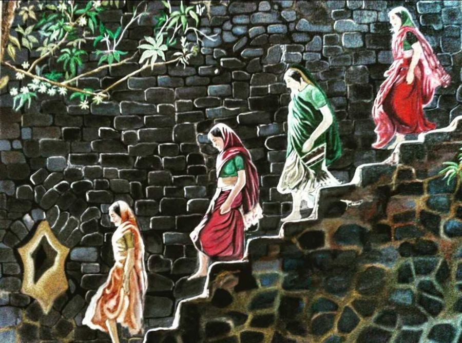 rural india, 36 x 24 inch, srikanth kona,36x24inch,canvas,paintings,realistic paintings,oil,GAL01192922085