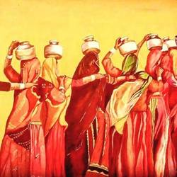indian rural women, 16 x 24 inch, srikanth kona,16x24inch,canvas,paintings,folk art paintings,oil,GAL01192922086