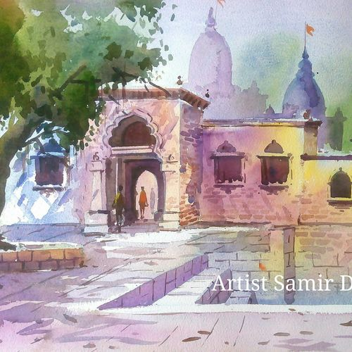 green natural -9, 21 x 15 inch, samir deshmukh,landscape paintings,nature paintings,paintings for living room,paintings for office,handmade paper,watercolor,21x15inch,GAL02522209Nature,environment,Beauty,scenery,greenery,temple,trees,water,beautiful,leaves