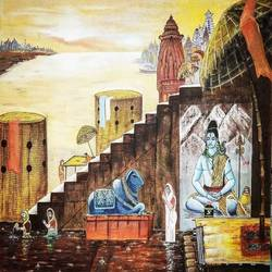 varanasi ghat, 36 x 24 inch, srikanth kona,36x24inch,canvas,paintings,religious paintings,oil,GAL01192922091