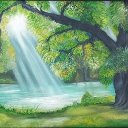 the infinite sun rays, 37 x 25 inch, idris khaleel,37x25inch,canvas,paintings,nature paintings,paintings for dining room,paintings for living room,paintings for bedroom,paintings for office,paintings for kids room,paintings for hotel,paintings for school,paintings for hospital,oil,GAL01131722094Nature,environment,Beauty,scenery,greenery,trees,water,beautiful,leaves,flowers,sun rays