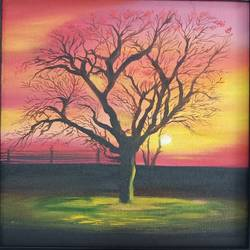 autumn sunset, 12 x 12 inch, idris khaleel,12x12inch,canvas,paintings,nature paintings,paintings for dining room,paintings for living room,paintings for bedroom,paintings for office,paintings for kids room,paintings for hotel,paintings for school,paintings for hospital,oil,GAL01131722096Nature,environment,Beauty,scenery,greenery