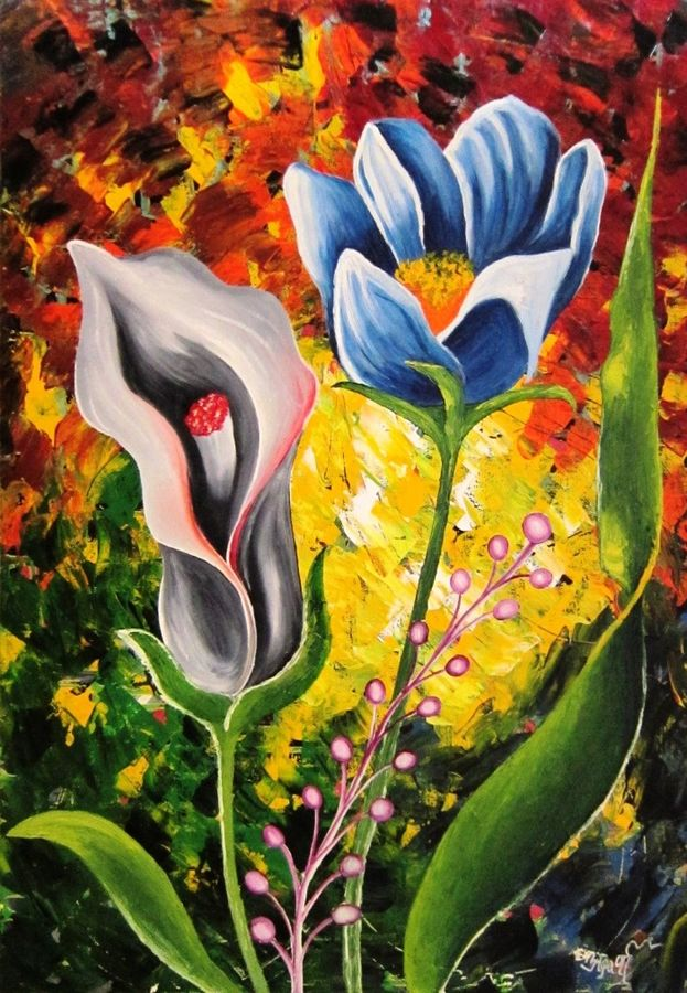 abstract big flowers , 15 x 22 inch, aparna warade,flower paintings,paintings for living room,canvas,oil paint,15x22inch,GAL089221