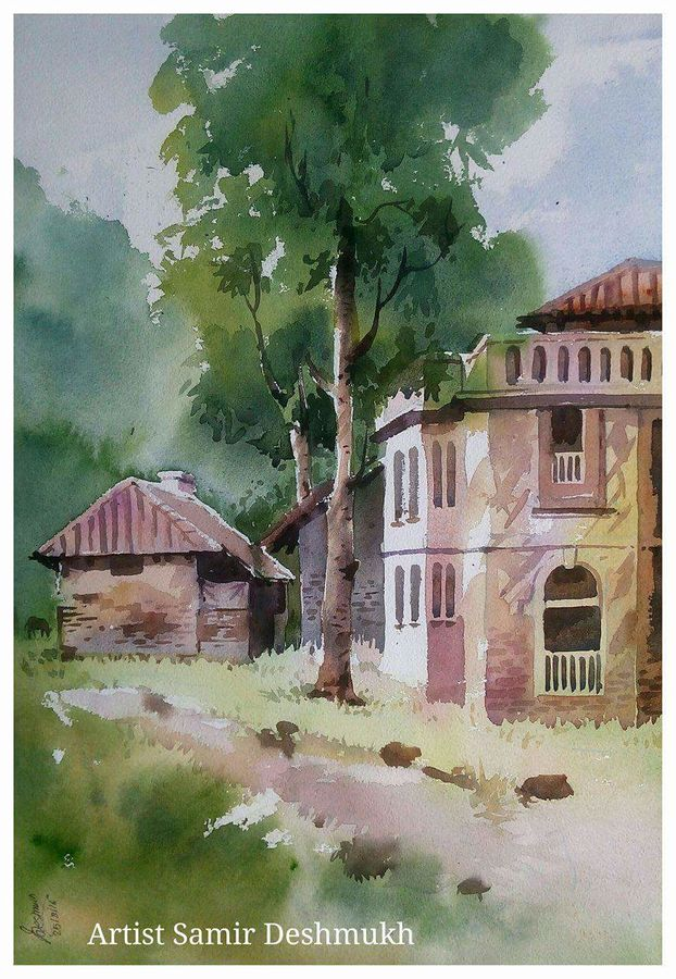 green natural -10, 15 x 21 inch, samir deshmukh,landscape paintings,nature paintings,paintings for living room,paintings for office,handmade paper,watercolor,15x21inch,GAL02522210Nature,environment,Beauty,scenery,greenery,house,trees,beautiful,leaves