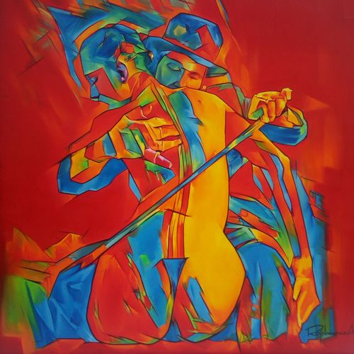 as a female instrument, it will be useful to use, 36 x 36 inch, roja lawrence,36x36inch,canvas,paintings,abstract paintings,paintings for bedroom,oil,GAL043822102