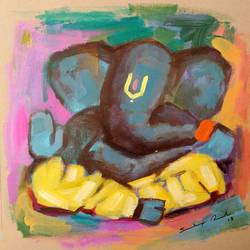 enlightened ganesha, 8 x 8 inch, sandeep rawal ,8x8inch,thick paper,paintings,abstract paintings,modern art paintings,ganesha paintings,contemporary paintings,paintings for dining room,paintings for living room,paintings for office,paintings for kids room,paintings for hotel,paintings for kitchen,paintings for school,paintings for hospital,acrylic color,GAL0251122105,vinayak,ekadanta,ganpati,lambodar,peace,devotion,religious,lord ganesha,lordganpati,ganpati,ganesha,lord ganesh,elephant god,religious,ganpati bappa morya,mouse,mushakraj,ladoo,sweets