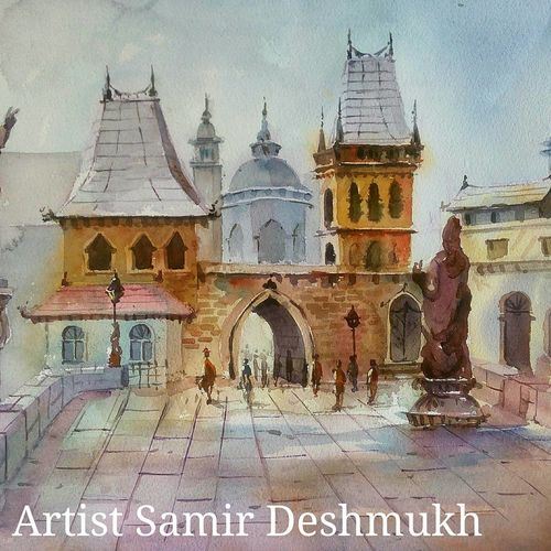 green natural -11, 21 x 15 inch, samir deshmukh,landscape paintings,nature paintings,paintings for living room,paintings for office,handmade paper,watercolor,21x15inch,GAL02522211Nature,environment,Beauty,scenery,greenery