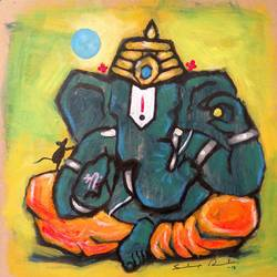 enlightened ganesha, 8 x 8 inch, sandeep rawal ,8x8inch,thick paper,paintings,abstract paintings,modern art paintings,ganesha paintings,contemporary paintings,paintings for dining room,paintings for living room,paintings for office,paintings for kids room,paintings for hotel,paintings for kitchen,paintings for school,paintings for hospital,acrylic color,GAL0251122112,vinayak,ekadanta,ganpati,lambodar,peace,devotion,religious,lord ganesha,lordganpati,ganpati,ganesha,lord ganesh,elephant god,religious,ganpati bappa morya,mouse,mushakraj,ladoo,sweets