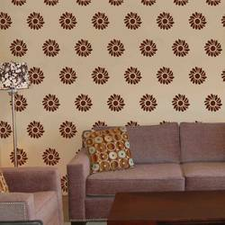 wall stencil: glossy flower wall stencil design for living room, 1 stencil (size 9x9 inches) | reusable | diy, 9 x 9 inch, wall stencil designs,9x9inch,ohp plastic sheets,flower designs,plastic,GAL0122135,GAL0122135