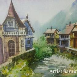 green city, 24 x 18 inch, samir deshmukh,landscape paintings,nature paintings,paintings for living room,paintings for office,canvas,acrylic color,24x18inch,GAL02522214Nature,environment,Beauty,scenery,greenery