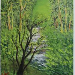 waterfall in greenery, 20 x 24 inch, prakash somasundaram,20x24inch,canvas,paintings,landscape paintings,water fountain paintings,acrylic color,GAL01182722143Nature,environment,Beauty,scenery,greenery