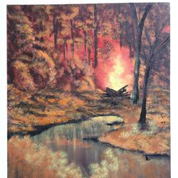 campfire in jungle, 20 x 24 inch, prakash somasundaram,20x24inch,canvas,paintings,landscape paintings,acrylic color,GAL01182722144Nature,environment,Beauty,scenery,greenery