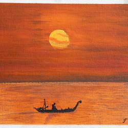 sunset at seashore, 8 x 12 inch, prakash somasundaram,8x12inch,canvas,paintings,landscape paintings,acrylic color,pencil color,GAL01182722145Nature,environment,Beauty,scenery,greenery