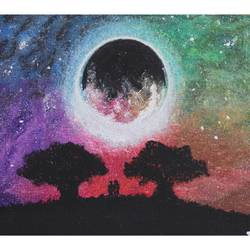 lunar eclipse, 8 x 12 inch, prakash somasundaram,8x12inch,canvas,paintings,nature paintings,acrylic color,pastel color,GAL01182722146Nature,environment,Beauty,scenery,greenery
