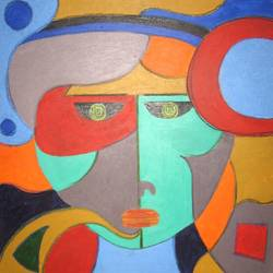mask [1], 24 x 24 inch, amit  sen,conceptual paintings,paintings for living room,canvas,acrylic color,24x24inch,GAL08592215